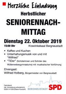SPD Bergneustadt lädt ein zum Seniorennachmittag am 22.10.2019